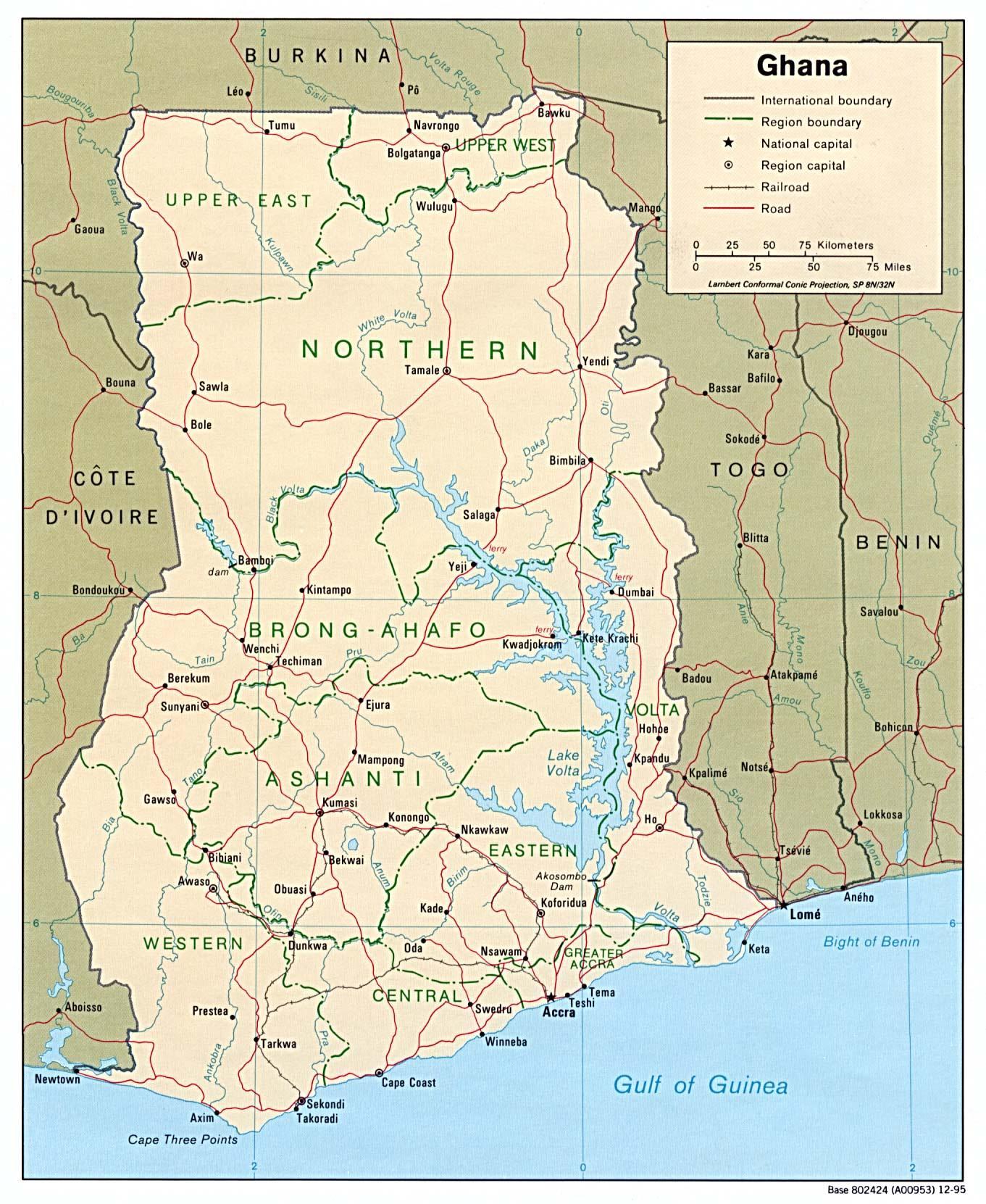 Kort Over Ghana Der Viser Byer Ghana Kort Med Byer Og Byer I