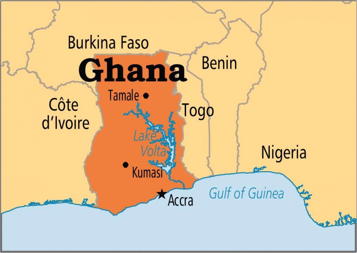 Fuld Kort Ghana Kort I Fuld Ghana Vestlige Afrika Afrika