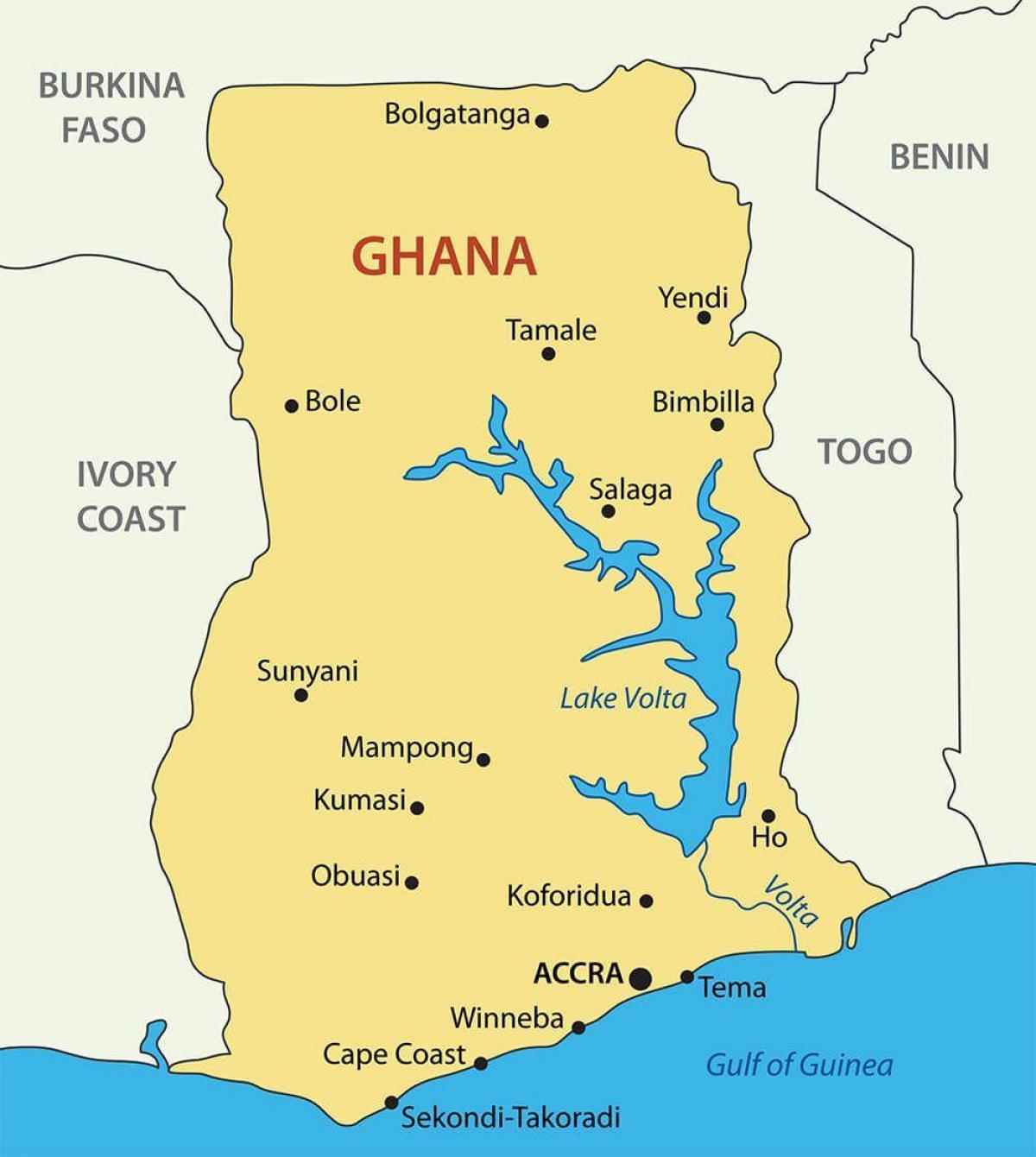 Ghana Byer Kort Ghana Kort Med Byer Vestlige Afrika Afrika