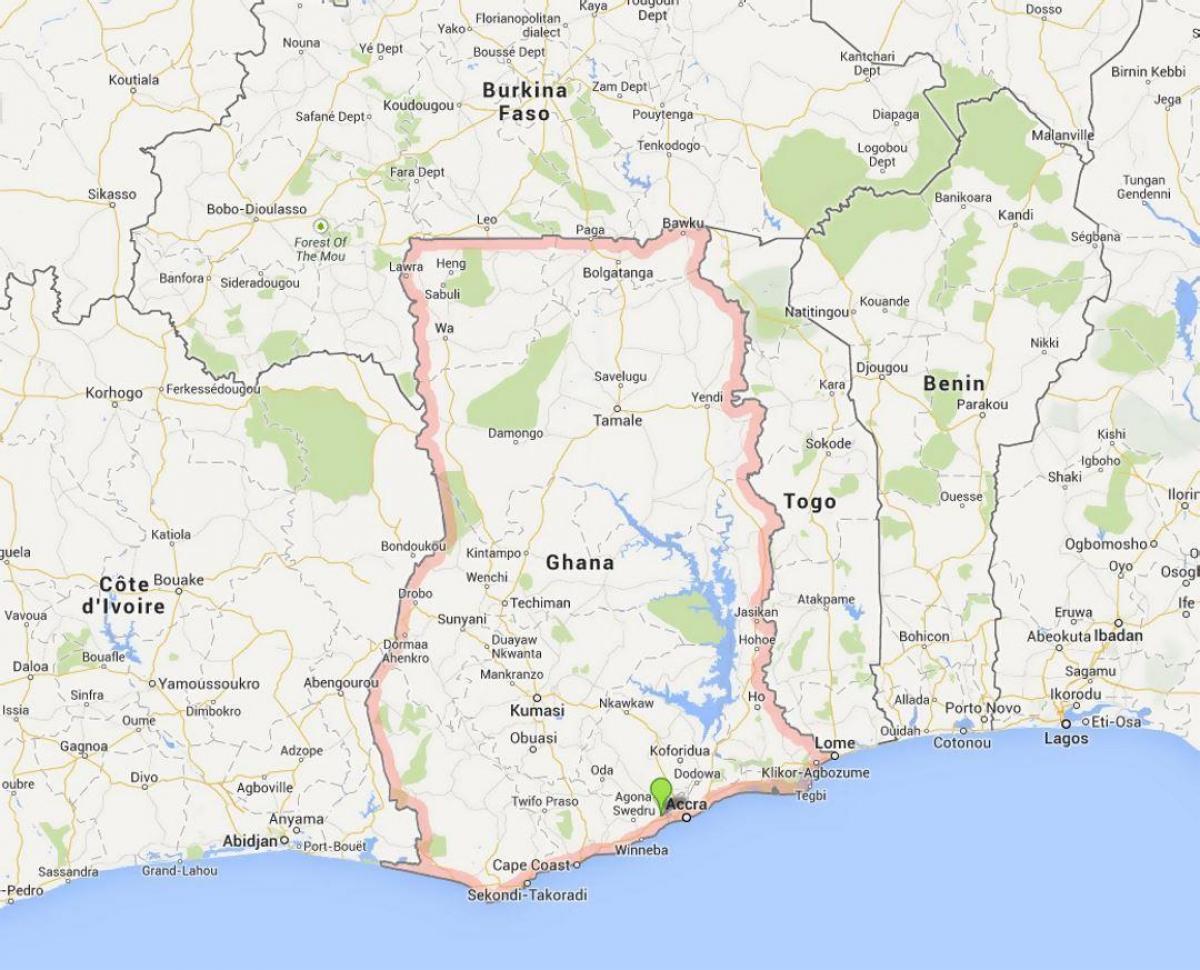 Ghanas Kyst Kort Kort Over Ghana Kysten Det Vestlige Afrika