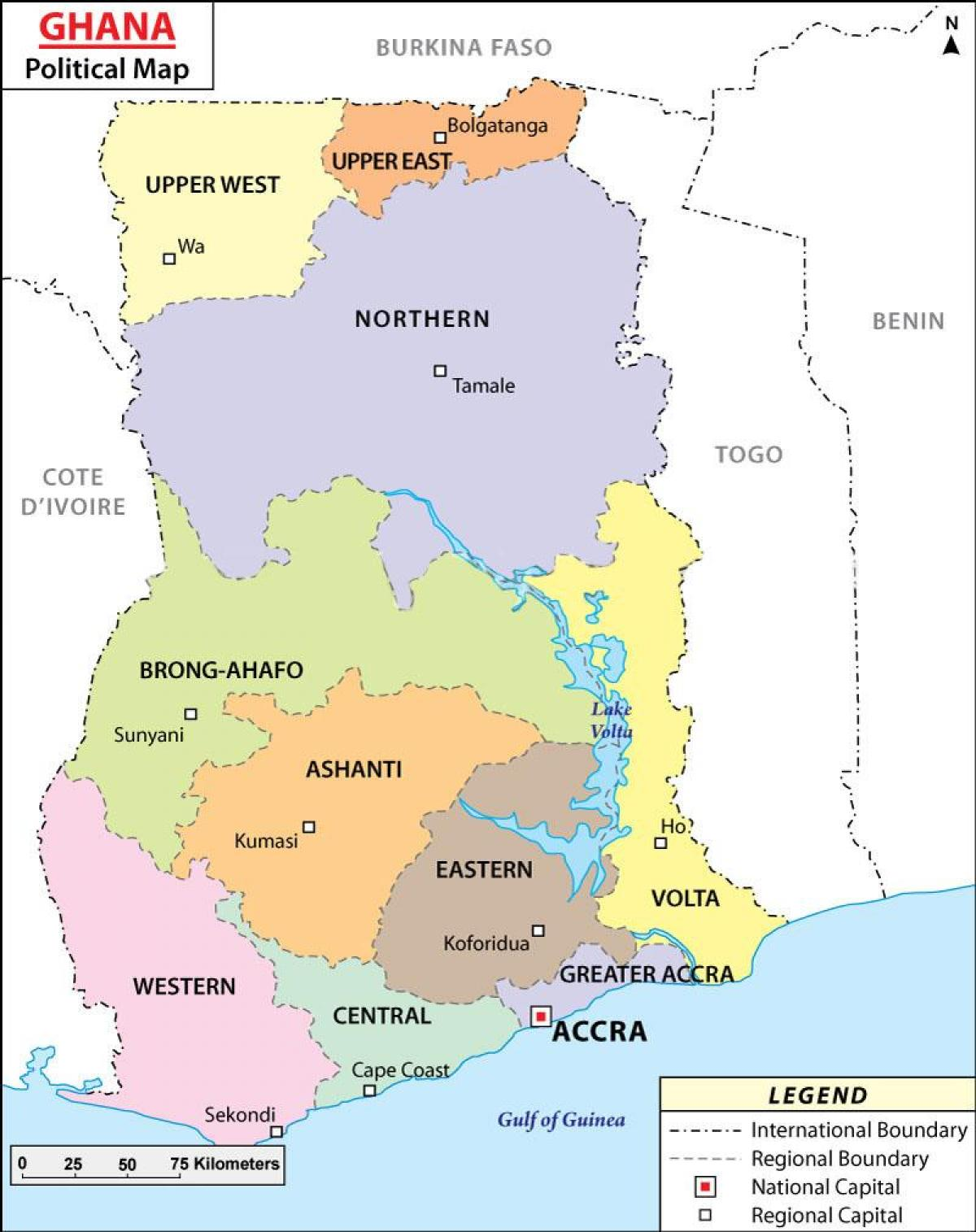 Politisk Kort Over Ghana Kort Af Politiske Ghana Vestlige